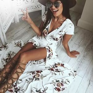 Dresses & Skirts - Florals wrap maxi white dress